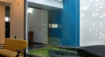 minimalist clear modern glass door