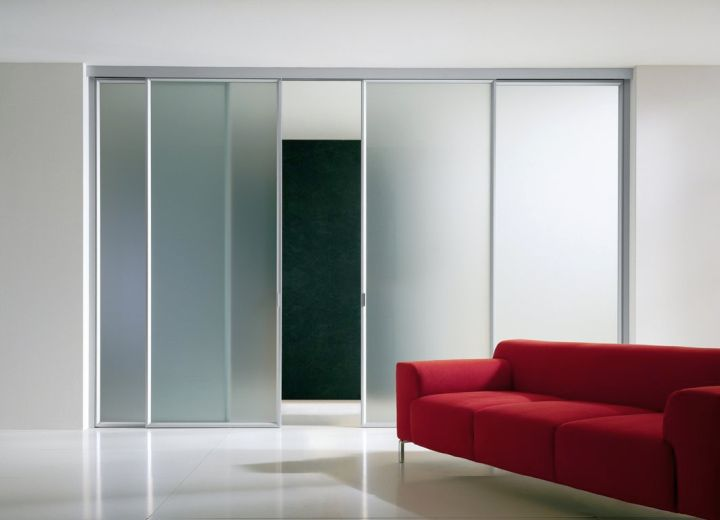 minimalist opaque modern glass door