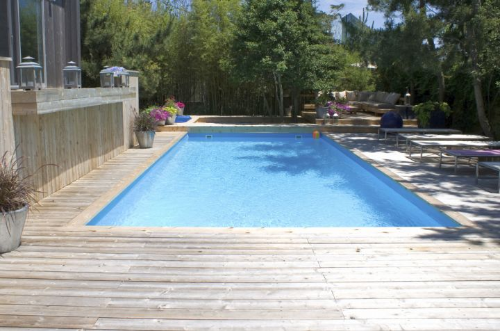 minimalist washed out wood pool deck