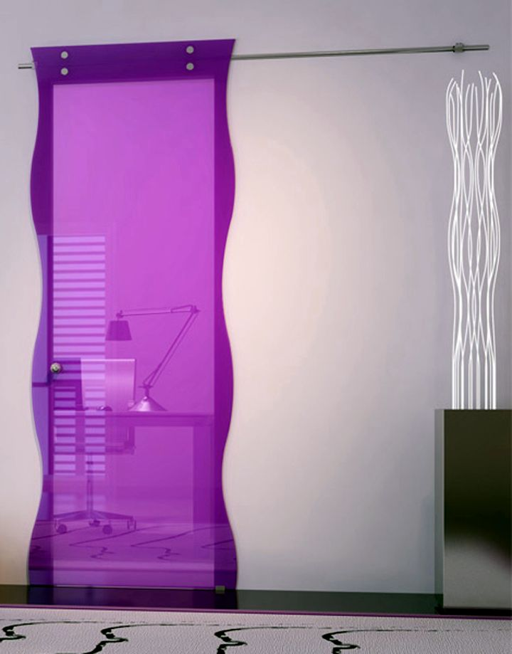 modern glass door in purple