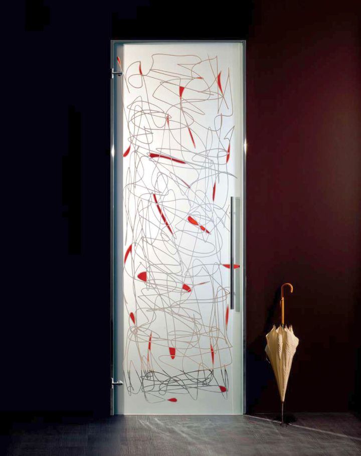 modern glass door with red pattern