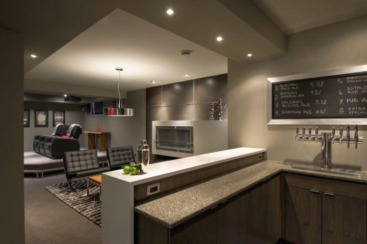 17 sleek modern home bar counter designs for Contemporary basement bar ideas
