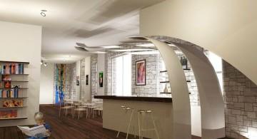 modern home bar design in the basement