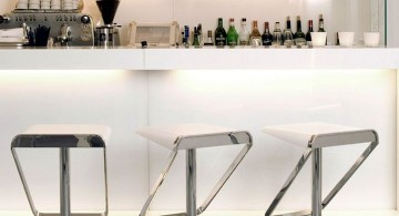 modern home bar design in white