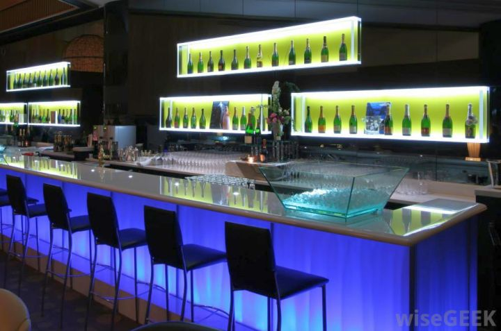 Modern home bar design with blue light - Bar counter designs for home ...