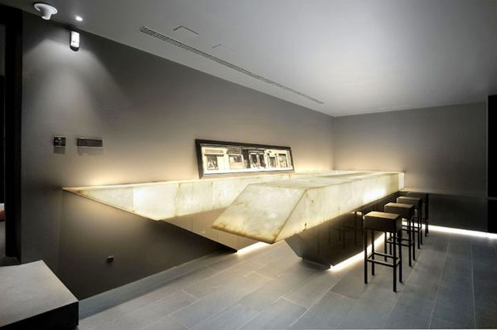 modern home bar design with unique glow table
