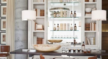 modern home bar design with unique lamp