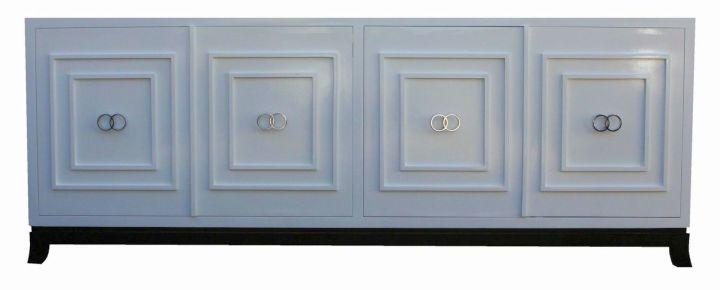 modern white lacquer credenza