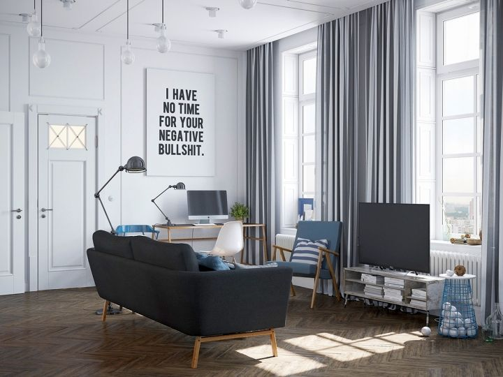 murmansk apartment living room statement wall