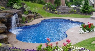 natural garden side pool waterfall ideas