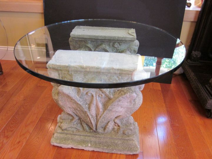 old stone and glass pedestal table base ideas