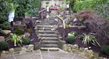 oriental garden design with garden stair