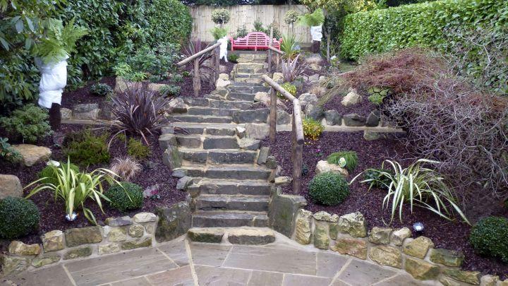 oriental garden design with garden stair