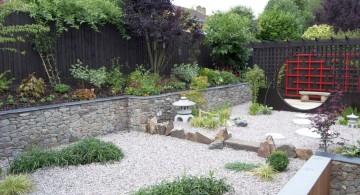 oriental garden design with oriental wall and sand garden