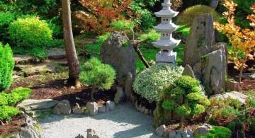 oriental garden design with sand garden