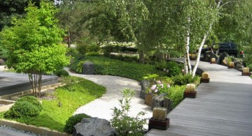 oriental garden design with wooden pathway