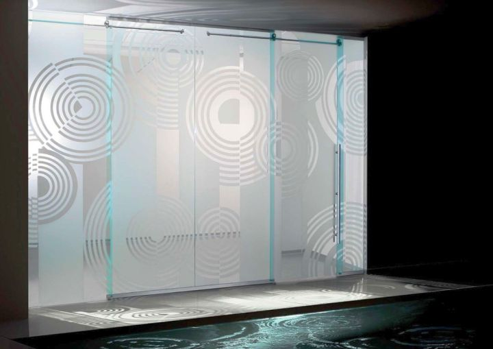 patterned modern glass door