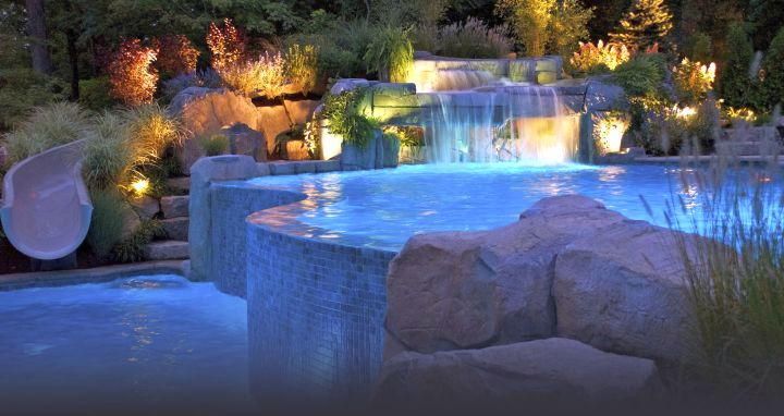 pool waterfall ideas on two tiered pools