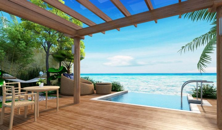 private wood pool deck overlooking the sea