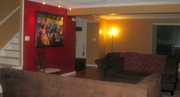 red wall accent for basement living room