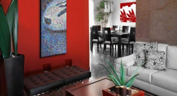 red wall accent for small apartment