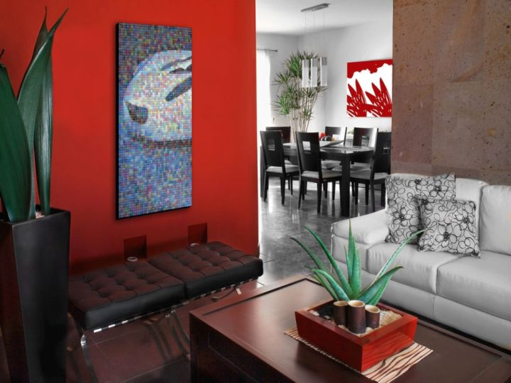 Gallery For Living Rooms With Red Wall Accent