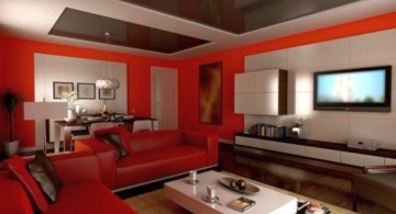 red wall accent for small living room