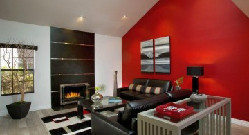 red wall accent for with white and black