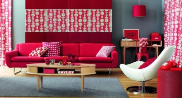 red wall accent in retro style living room