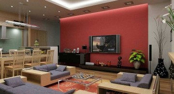 red wall accent with contemporary sofa