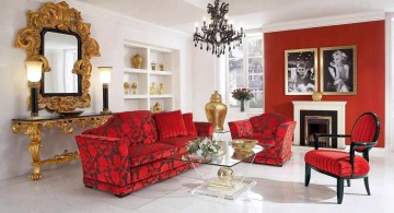 red wall accent with gothic chandelier