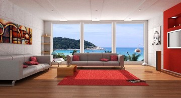 red wall accent with red rug