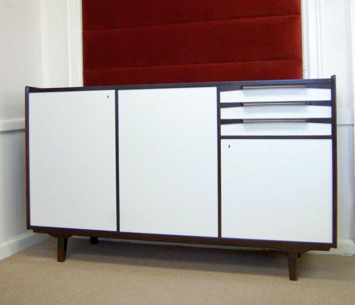 retro style white lacquer credenza