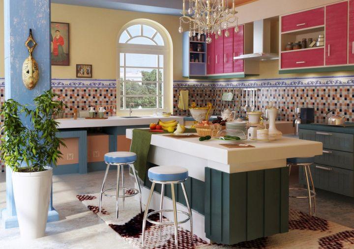 semi open mediterranean kitchen designs
