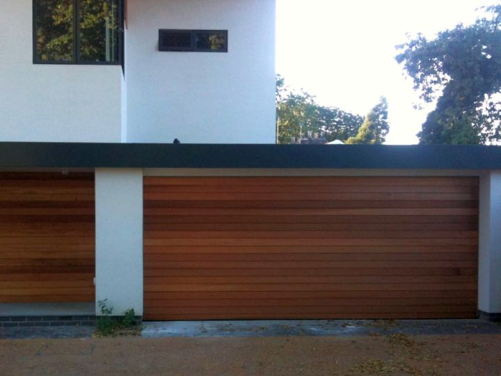 simple and semi attached contemporary garage