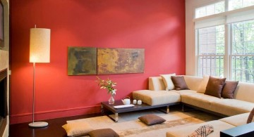 simple minimalist red wall accent