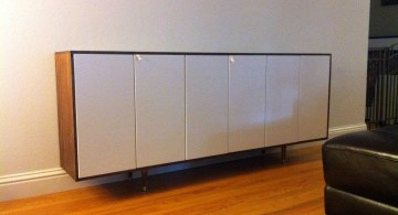 simple minimalist white lacquer credenza
