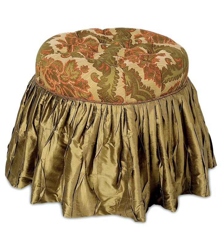 skirted vanity stool in olive and copper
