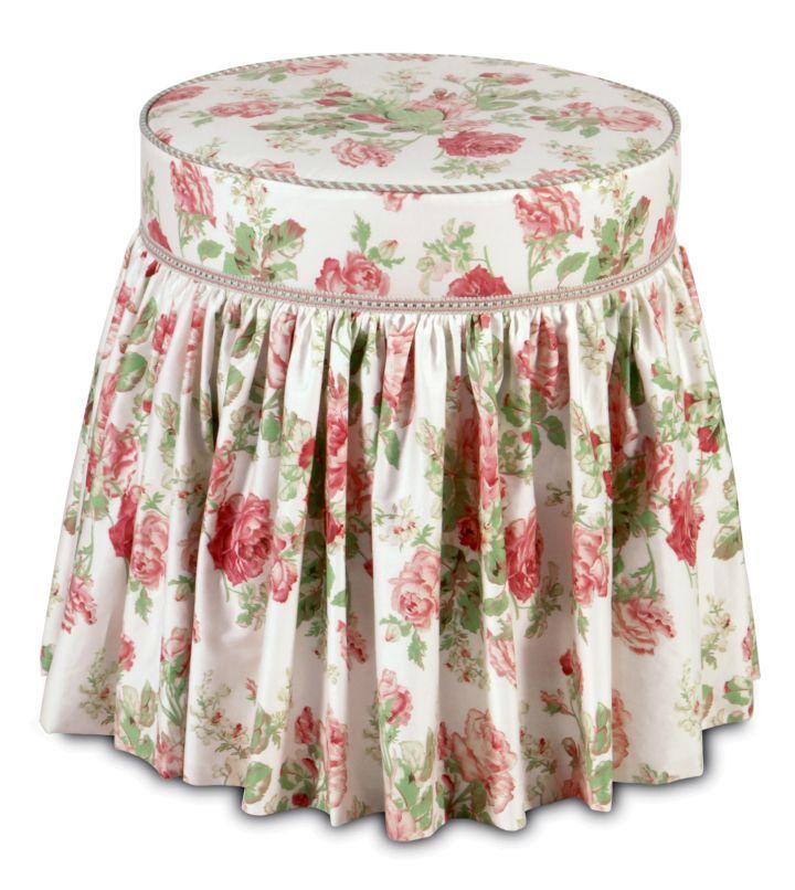 skirted vanity stool in red flower
