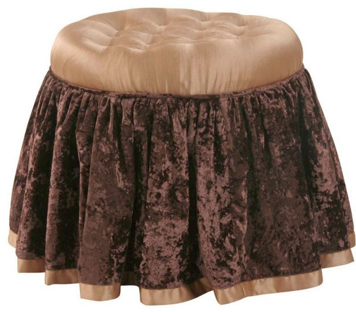 skirted vanity stool with brown lace