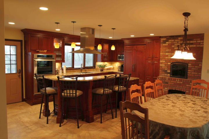 small kitchen island with seating for six