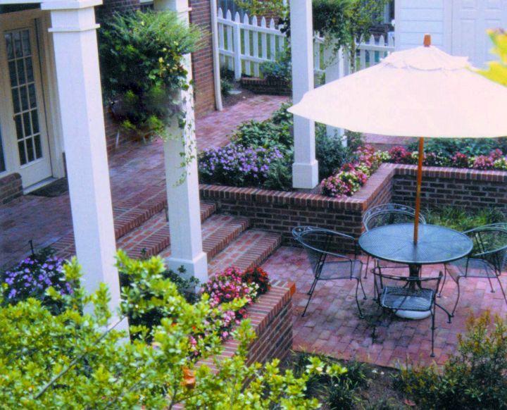 small terraced flower garden