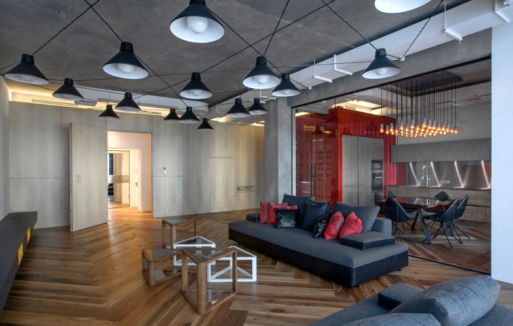 st petersburg loft living room