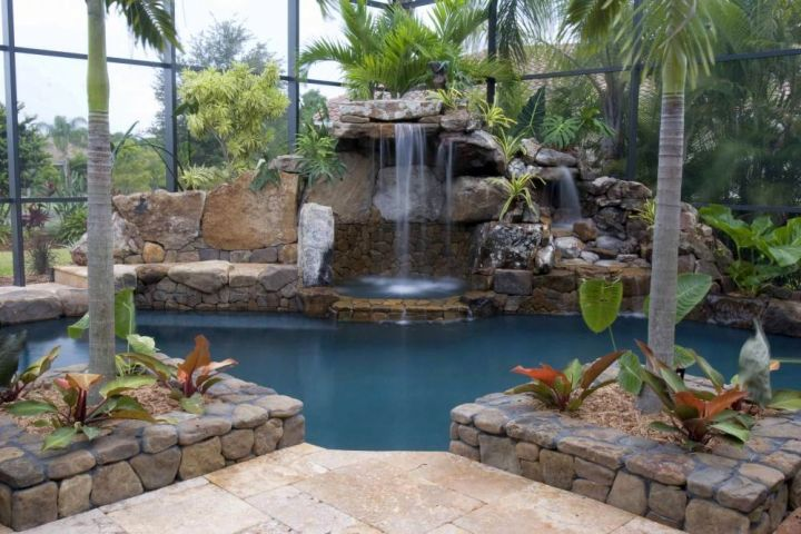 tall indoor pool waterfall ideas