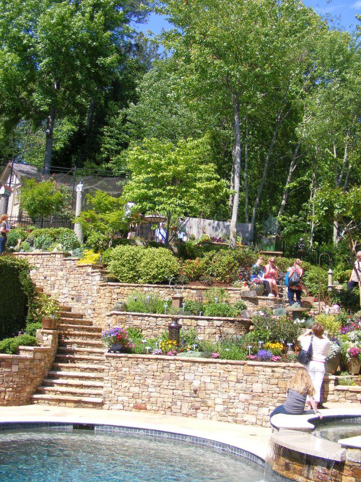terraced flower garden by the pool