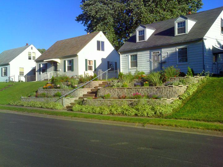 terraced flower garden for small house