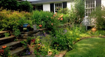terraced flower garden in spacious backyard