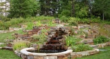 terraced flower garden with a pond