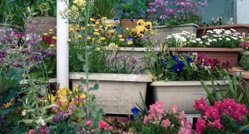 terraced flower garden with pots