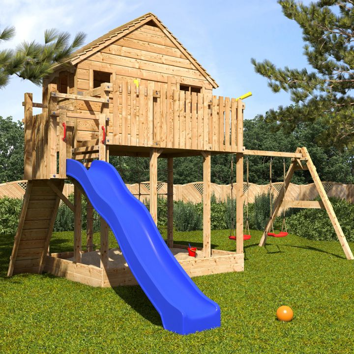 treehouse on stilts with slide and swing